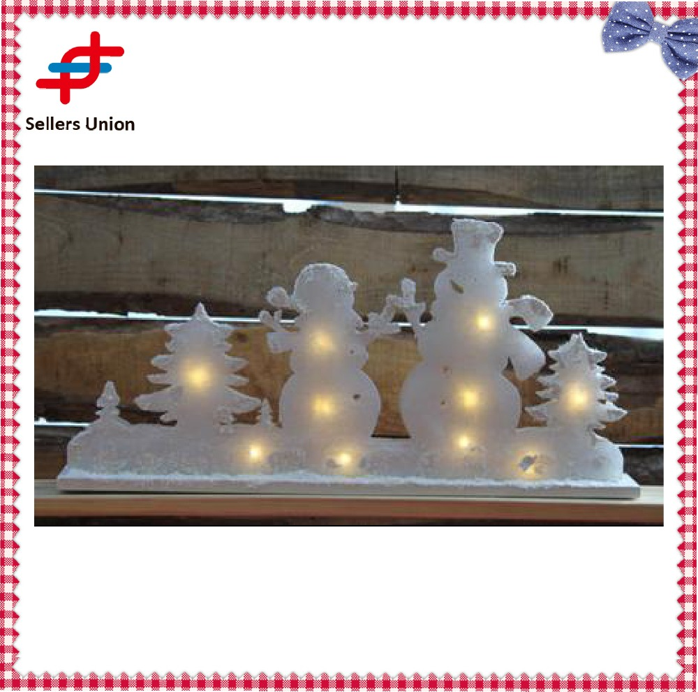 Christmas acrylic trees snowmen with led light home decoration