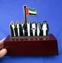 OEM designs UAE national day wooden trophy, UAE patriotic and united trophy custom, seven chiefs united Wooden MDF trophy