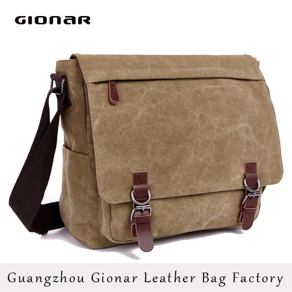 2016 Top sale Latest Canvas mens laptop chrome messenger bag