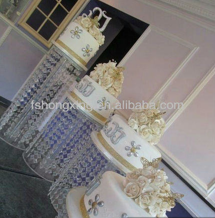 CS541 different height acrylic crystal cake stands for weddings cakes