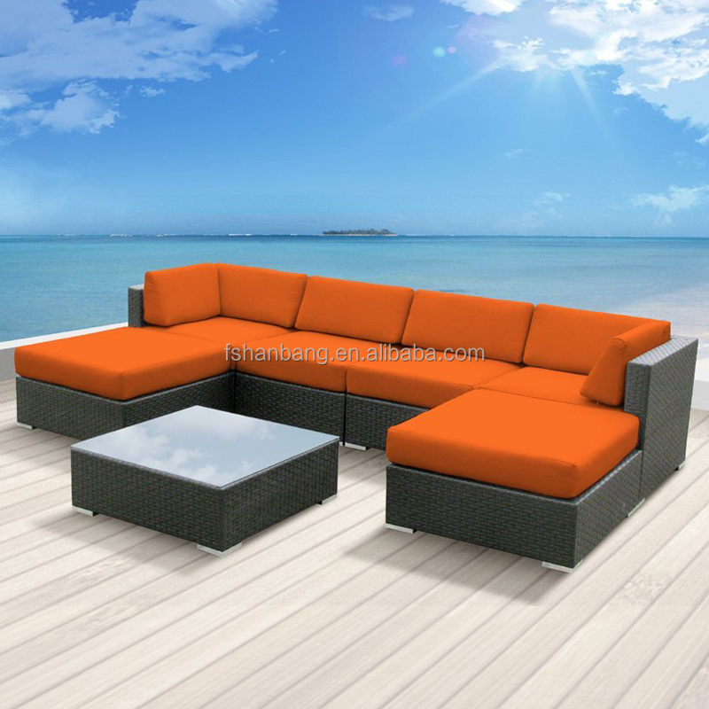 Modern Rattan Outdoor Patio Wicker Sectional Sofa Couch Set Outdoor Rattan Sofa Set
