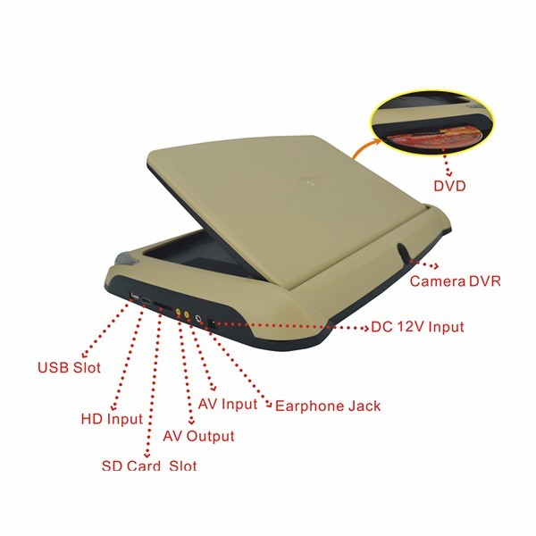 ultra-thin design 10.2 inch changeable cover car roof mounted monitor with DVD player /USB/SD/HDMI