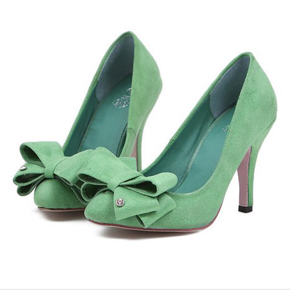 0db281f597ad Get Quotations · 2015 New Brand Women Pumps High Heels Shoes Woman Fashion  Sweet Bowtie Rhinestone Pointed Toe Platform