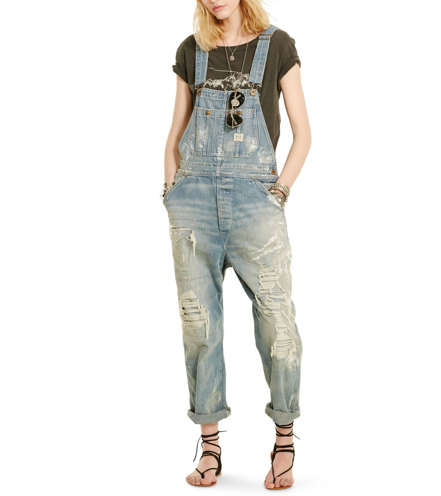 girls fashion design custom rips and repairs thoughout many pockets denim overall