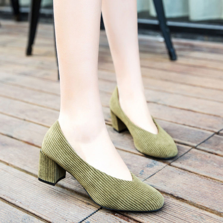 Latest 2017 Mid Heel Round toe Women's Corduroy Block Heel Pumps Court Shoes Lady