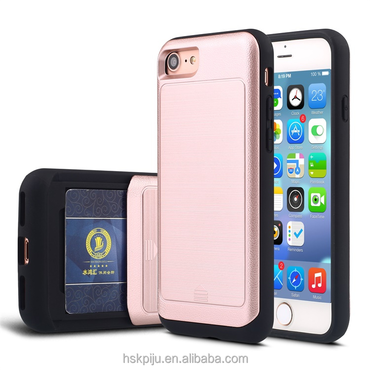 Top Quality Soft PC+TPU Mobile Phone case with slid card slot cases for phone 6 6plus