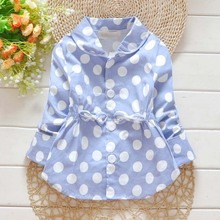 ca80035 spring autumn polka dots printed cute infant girl coat
