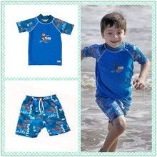 Kids Rash Guard SPF 50 short sleeved Surf Swimwear Shirt Sets with shorts S4312