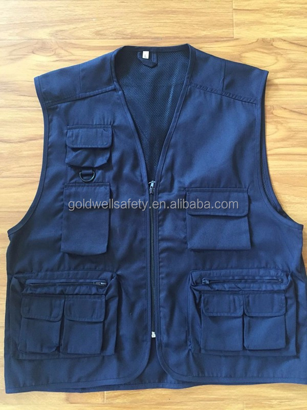 Alibaba Gold Supplier Cotton men Custom Work Vest multi pocket fishing vest