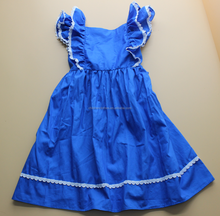 Teen girl clothes garment wholesale blue top frock design 2016 kids summer dress