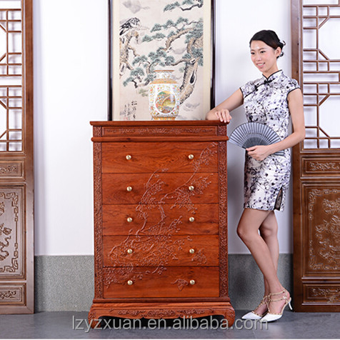 hot selling Chinese style Burma rosewood type antique storage wooden chest of drawers design