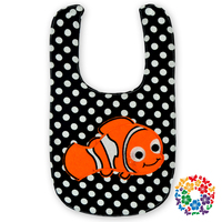 embroidery fish black polka dot cotton fabric disposable baby bibs