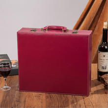 Alibaba wholesale portable high-grade red wine box, red leather gift boxes