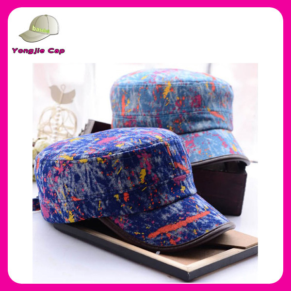 Fashion Women Men Camo Military Style Cap / Flat Top Hat Unstructured