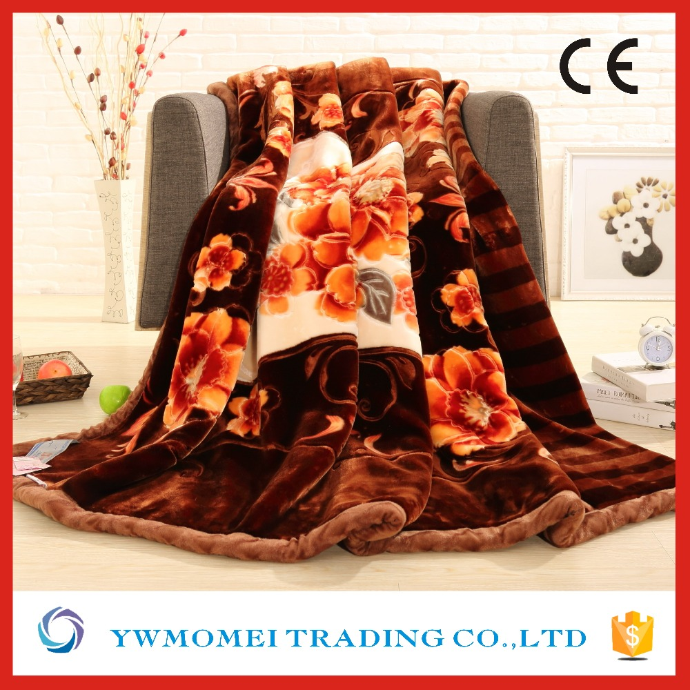 flower pattern softtextile mink blanket hot raschel blanket