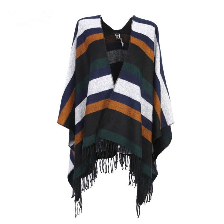 2018 fashion new stripe knitting scarf women long fringe shawl poncho