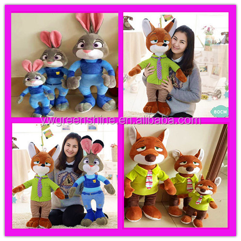 2016 newest soft Judy and nick shaped stuffed and realistic plush toy rabbit and fox ZOOTOPIA