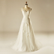 AH1510 V front and back stylish design diamend white wedding gown a line sash court train wedding dress