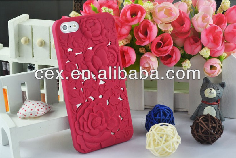 3D Rose Floral Carved Hollow Air Matte Hard Case Back Cover For iPhone5