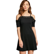 OEM Black Lace Panel Cami Dress Spaghetti Strap Patchwork A Line Mini Cocktail Dress