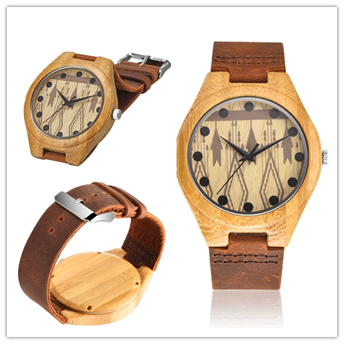 Custom logo handmade personized wooden watch bamboo wood watches OEM leather band watch 2035 japan movt 3 hands men timepieces