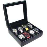 China Factory Jotee Design Deluxe Black Faux Leather Watch Case(8 Watches)