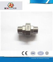 AISI 304 316 Stainless Steel Casting Pipe Fittings Double Male Thread Flat Union
