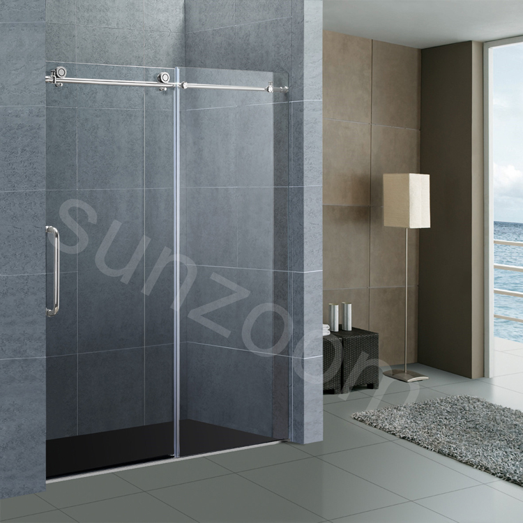 Sunzoom 48 shower doors frameless solid stainless steel sliding shower doors