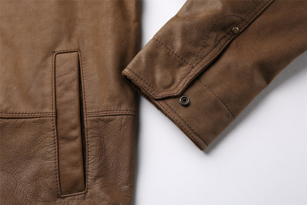 Handmade Vintage Mens Brown Camel Leather Jacket
