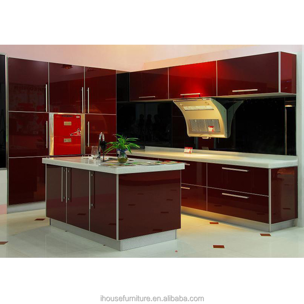 Guangdong Ready Made High Gloss Wine Red Acrylic Kitchen Island Cabinet Model For Sale