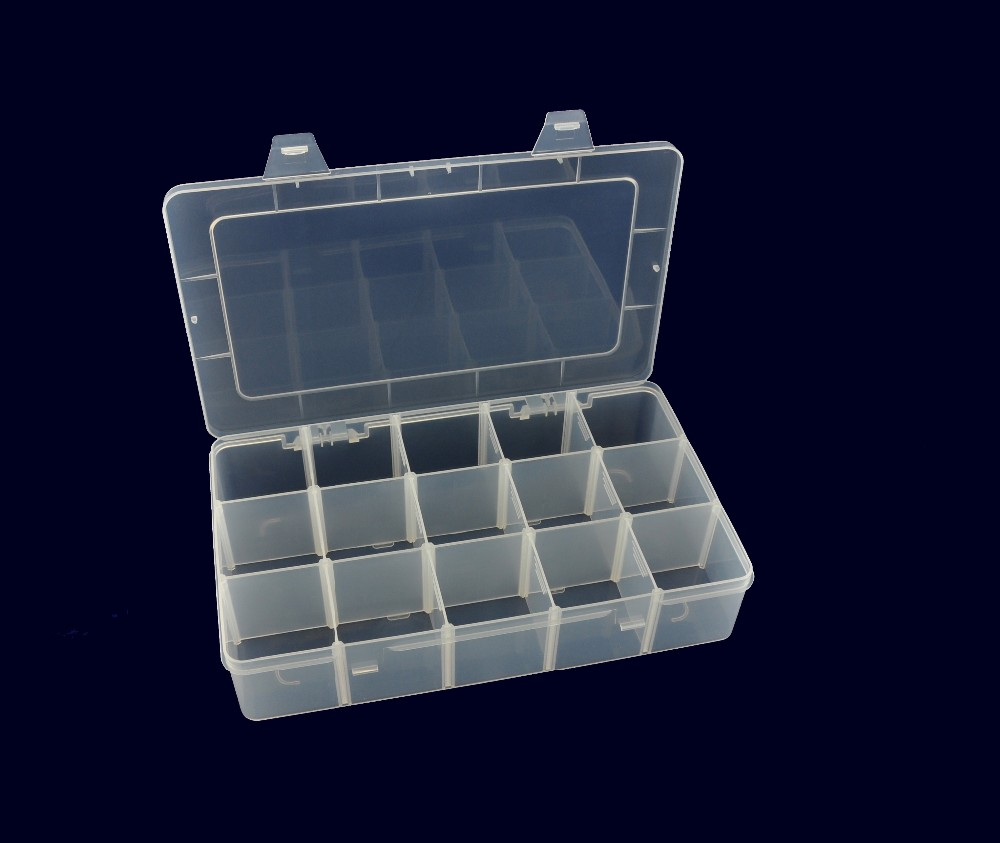 clear plastic boxes with 15pcs removable dividers