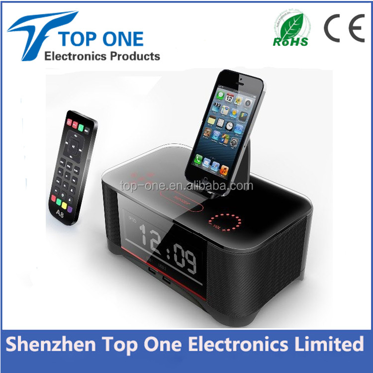 LCD Time Display FM Bluetooth Radio Speaker Clock Stereo Speaker with Docking Station for iPhone/iPod/iPad