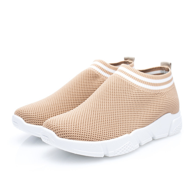 Hot Sale Breathable Cheap Fly Knit Flats Sock Fashion Sneakers Women's Casual Shoes