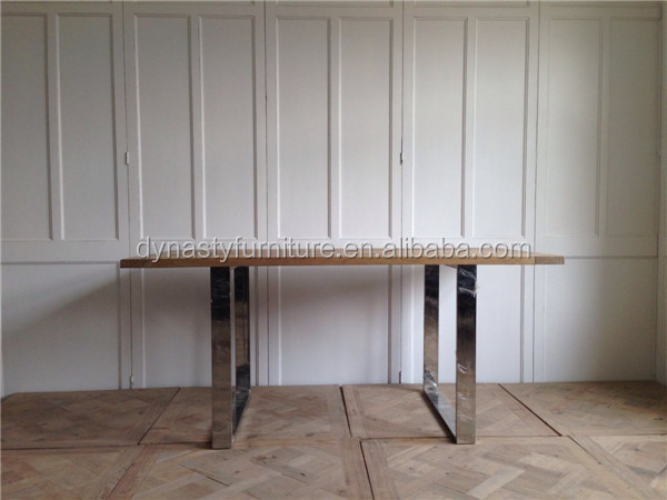 antique metal legs wooden top industrial dining table for home goods sale
