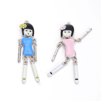 200pcs Blue Pink beautiful girl pendants novel moved enamel craft charms handmade necklace pendants