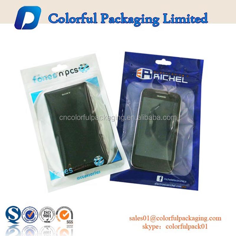 mobile phone bags cases promotion custom plastic ziplock accessories packaging