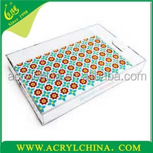 lucite tray, clear rectangle acrylic tray with paper