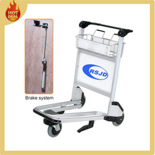 3 wheels airport luggage baggage service trolley with released brake