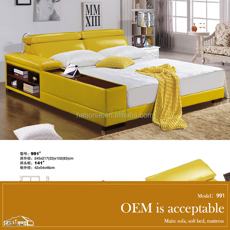 Bedroom furniture latest double bed designs with lamp 991 for Latest double cot designs