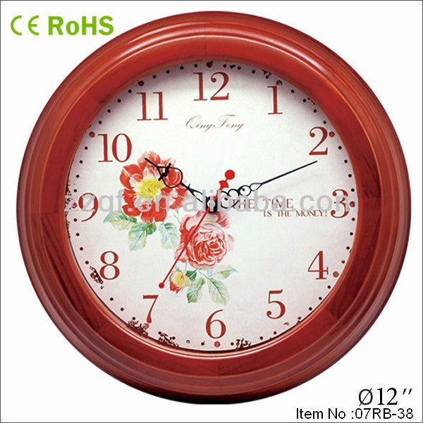 home decoration wall clock with flower clock dial