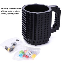 Build-On Brick Mug Lego Type Creative DIY Building Blocks Coffee Cup Water Bottle Puzzle Toy Mug