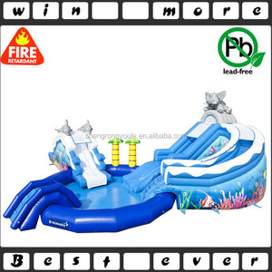 the elephant inflatable water slide with swimming pool,kides&adults inflatable water slide for sale