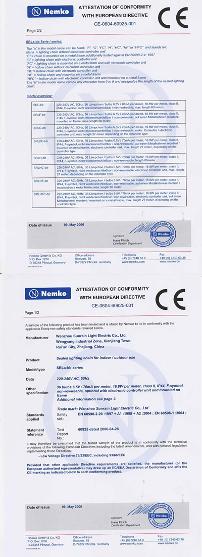Attestation of Conformity With European Directive