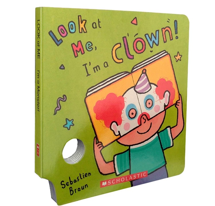 child reading book with cartoon design