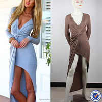 OEM service knot front summer jersey women fashion dress long sleeve style maxi dress design with side shrring