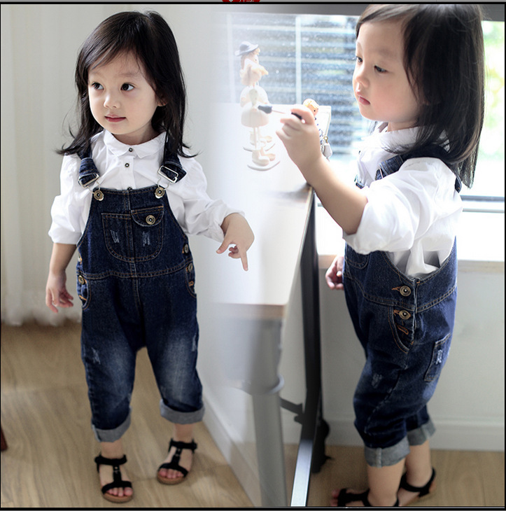 MS83741M 2017 kids overall jeans kids fashion denim suspenders
