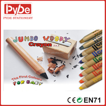Jumbo wooden wax crayons for kids and promotion 6/12 colors