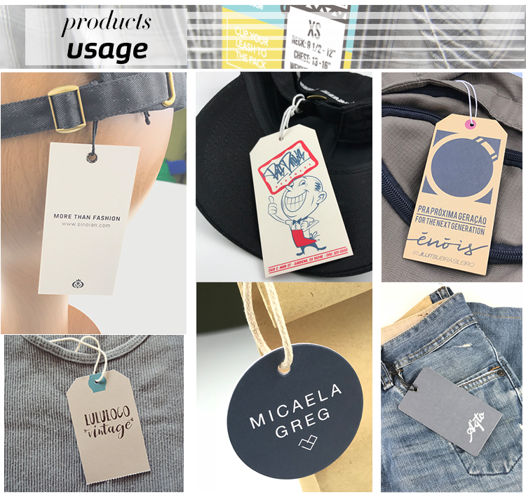 Cheap Custom Design Printing Name Logo 400GSM Paper Clothing Garment Hang Tag with String and Eyelet