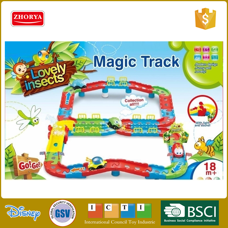 Zhorya 18 Month+ Funny Magic Track Toys Lovely Insects Tracking Toy Battery Operated Track Set With Light And Music For Children