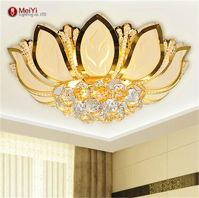 flor de loto moderna luz de techo con pantalla de cristal oro abajur lamparas de techo